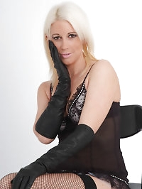 Leather gloves on this blondes soft skin just drives her..